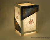 Paper lamp, Blue and Brown Wrinkle-dyed paper, Table lamp, rice paper lamp, real maple leaves