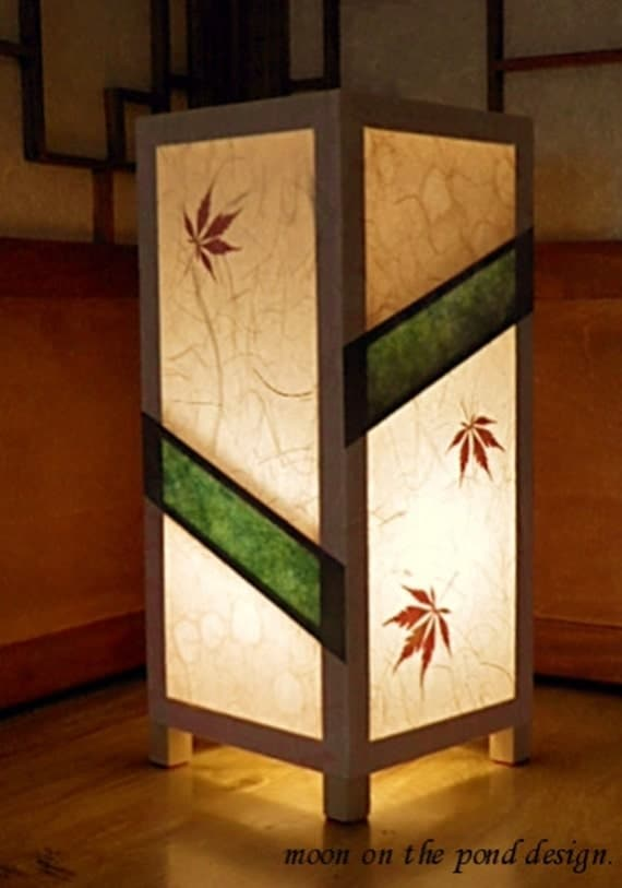 Items Similar To Paper Lamp Japanese Style Table Lamp Rice Paper And Maple Leaves Elegant