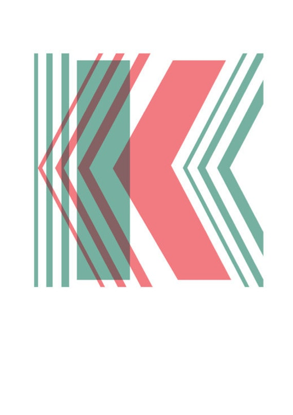 "Geo Overlay ""K"" Typographic Print"