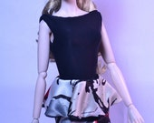 Red Tulip Peplum Skirt and Bodysuit Spring Ensemble for 1:6 Fashion Dolls