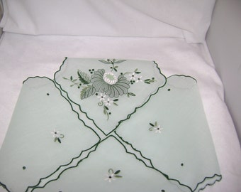 Vintage hand embroidered green Organza hot roll cover - Clearance