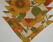 vintage funky orange, yellow and green napkin set