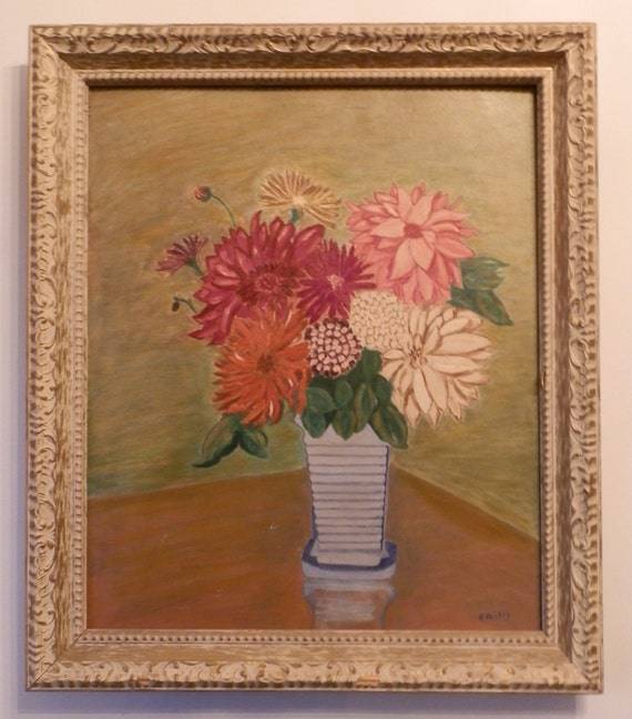 vintage large original floral painting
