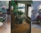 stackable plant stand, table, basket, interlocked hangers, upcycled, repurposed, green (ha ha)