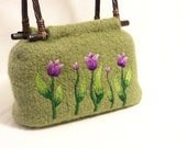 Knitted Felted Bag - Lime green purse with tulip embroidery and wicker handles