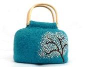 Embroidered Felted Handbag - Cherry Tree
