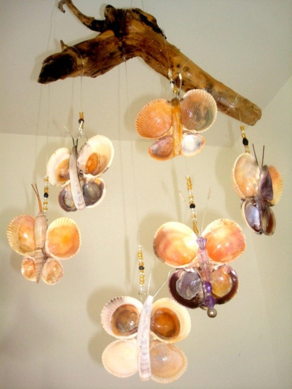 Sea Shell Butterflies Hung from Driftwood