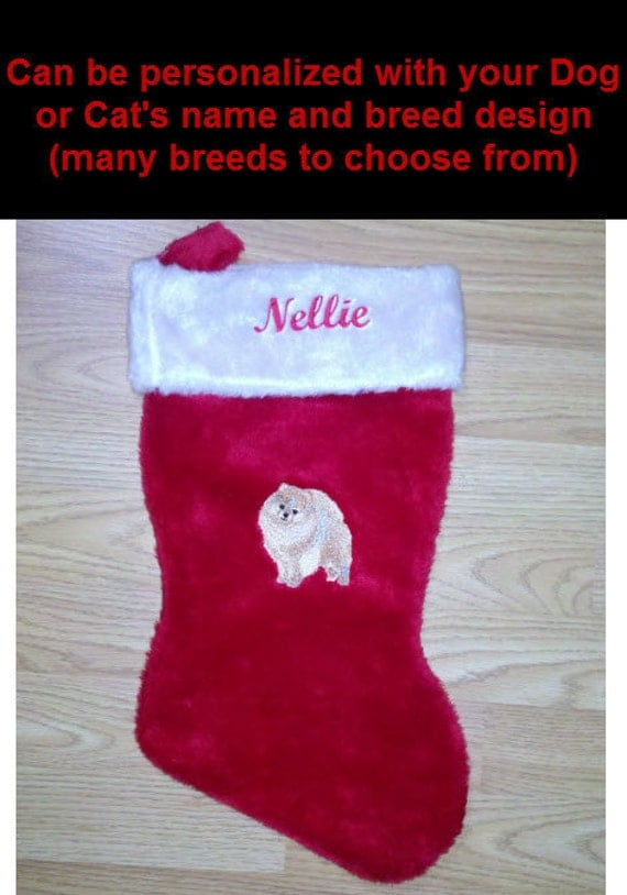 Custom embroidered dog or cat christmas stocking for Personalized dog christmas stocking
