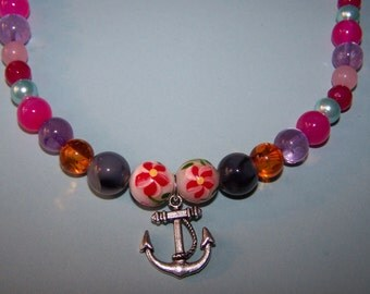 Beautiful  agate/amethyst/amber beaded necklace w/anchor