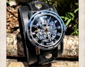 Black leather watch, leather cuff with Mechanical skeleton watch face, mechanical analog watch by torn to pieces