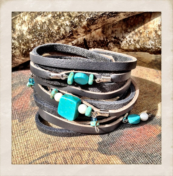Grey leather cuff bracelet with turquoise beads, Turquoise beaded grey leather cuff bracelet by torn to pieces