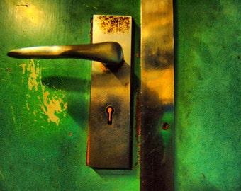 Metal Keyhole Door Handle- New Zealand - Fine Art Photography Print - 8x12- Affordable Home Decor