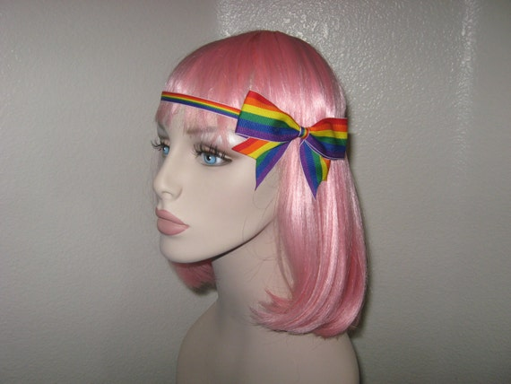 Gay Pride Forehead Band Rainbow with Large Bow