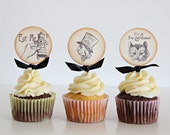Alice in Wonderland Cupcake Toppers, Vintage style, Cupcake toppers, Birthday toppers, Wedding Toppers, Baby Shower Toppers, Set of 12