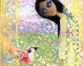 Girl & Bird - whimsical fine art print - A problem shared is a problem halved (HALF PRICE for a limited time only!! Enter code LOVE2014)