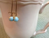 Vintage Round Stone Dangle Earrings - Opaque Glass Stones - Light Blue