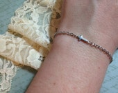 Silver Cross Bracelet - Sideways Cross Charm - Custom Fit