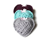 Amber Vanilla Scented Sachet, Crochet Heart Filled with Amber Vanilla, Home Decor, Party Favor - Set of Three in Grey, Turquoise, and Purple