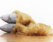 Fur Photo Prop, Newborn Photo Prop, 19 by 32 Inches, Faux Fur in Carmel Luxury Shag, Long Pile