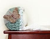 Newborn Bonnet - Newborn Photo Prop - Crochet Baby Girl Hat - Vintage Inspired Photo Props - Seafoam Green, Butterfly, Lace