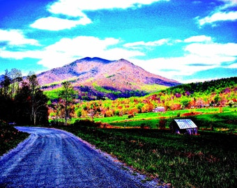 """Graphic Art Photography Peaks Of Otter Blue Ridge Mountains Flat Top Mountain / Wheats Valley / Colorful Print 8.5"""" x 11"""""""