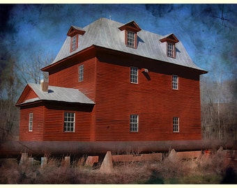 "Big Otter Mill / Bedford Virginia / Edited Art Photography / Color Print 8.5"" x 11""/ Big Red Mill / Historic Landmark / Photo /"