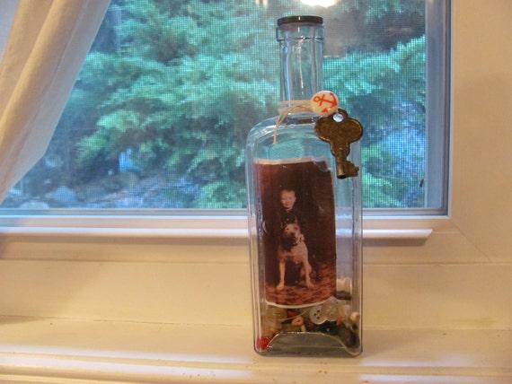 Remembrance Bottle/ Antique Cork Top Bottle/ Vintage Photo/ Children/ Pets/ Pit Bull Dog/ Skeleten Key/ Buttons