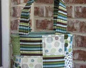 Sage Green, Steel Blue and Brown Print Purse