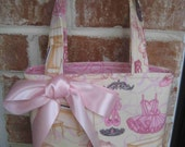 Beautiful Pink and Cream Ballerina and Ribbon Print Purse