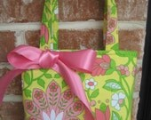 Beautiful Bright Yellow, Pink and Green Floral Print Purse
