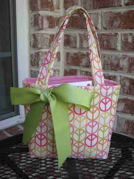 Pastel Pink Green Yellow and Orange Peace Sign Purse