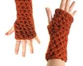 fall crochet ARM WARMERS FINGERLESS you pick the color sports team gloves warm wrist warmers soft wool burnt orange spice fall