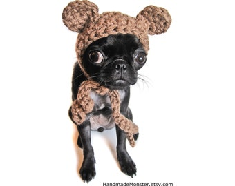 CROCHET BEAR HAT halloween ewok dog costume pet outfit puppy