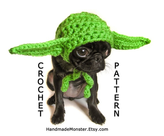 Free Crochet Patterns For Dog Halloween Costumes : CROCHET DOG HAT pattern yoda star wars inspired pdf dog