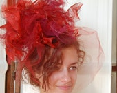 Lady Gaga or Duchess Catherine Middleton- Fiery Red Tulle and Georgette Fascinator