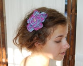 Upcycled Iridescent Blue, Purple, and Pink Dupioni Silk Flower with Vintage Rhinestone Center and FREE SHIPPING