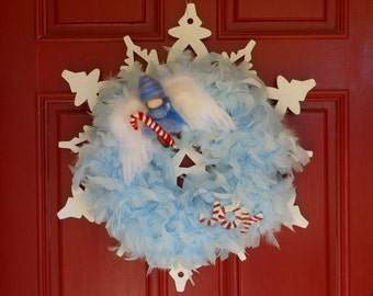 Blue Feather Snowflake Christmas Wreath NUSHKIE DESIGN Elf