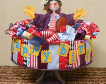 REDUCED - BIRTHDAY CENTERPIECE Table Decoration Annalee Clown Ribbon