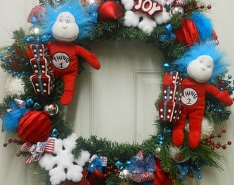 REDUCED Thing 1 & Thing 2 Christmas Winter Snowflake Wreath Red Blue