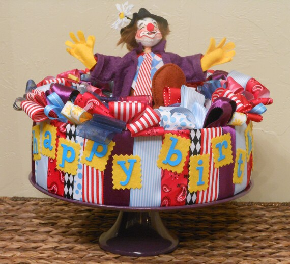 REDUCED - BIRTHDAY CENTERPIECE Table Decoration Annalee Clown Ribbon