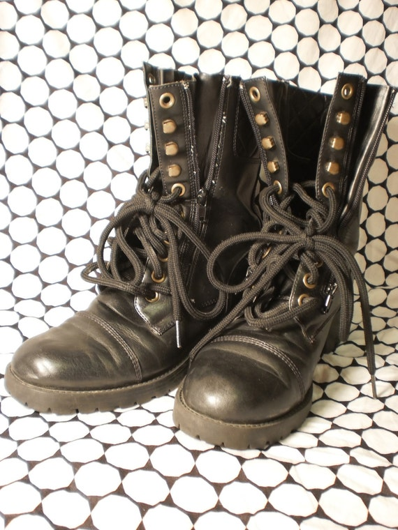 1990 S Vintage Black Combat Military Boots Size 8m By Ny