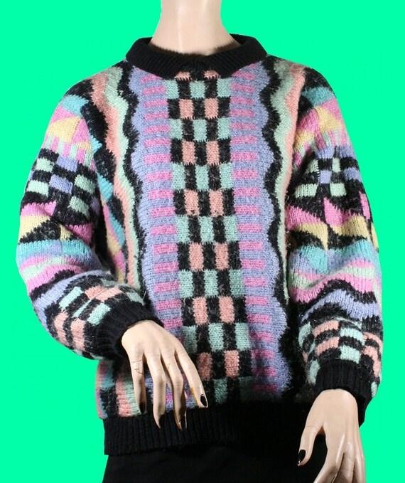 80s GEOMETRIC Aztec Neon Indian Pastel Indie Hipster Sweater Medium