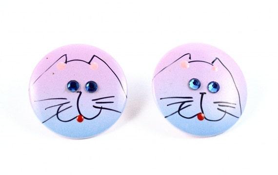 Vintage Cat Earrings Kitsch Kawaii w Rhinestone Eyes 80s