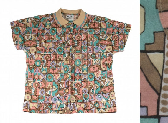 Spring Pastel Tribal Art Deco Aztec Indian Button Up Shirt / Blouse Vintage 80s Short Sleeved Petite Small