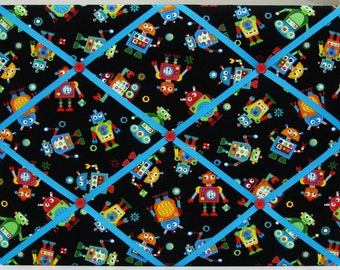"Adorable Robots on Black -  Fabric Covered Memo Board - 15"" x 20"""