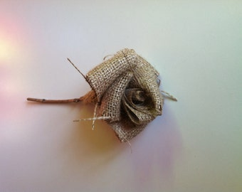 FREE SHIPPING Single Burlap Flower with Stem in Natural
