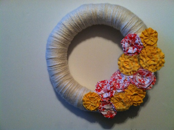 Removeable Wreath Attachment in Yellow and Coral from Vintage Fabric