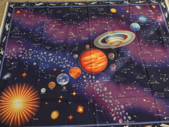 Fabric solar system panel coordinates by hcostello1 on etsy for Solar system fabric panel