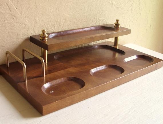Men's Wooden Dresser Valet 2-Tier Jewelry Storage Tray