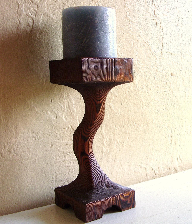 Primitive Tree Wood Candle Holder Wooden Pedestal